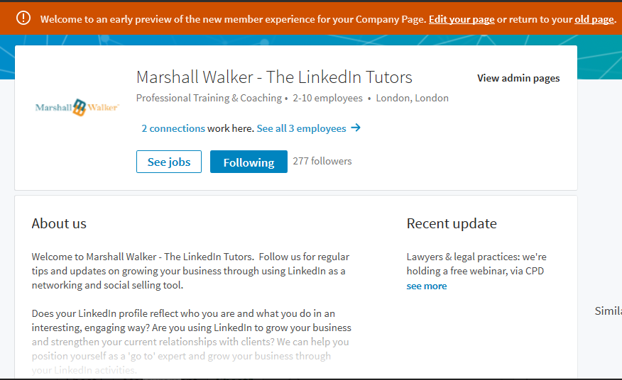 LinkedIn Company Pages – revamp coming soon | Marshall